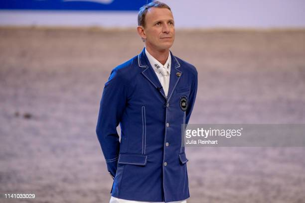 Swedish rider Peder Fredricson during the price giving ceremony for the 2019 Longines FEI Jumping World Cup Final during the Gothenburg Horse Show at...