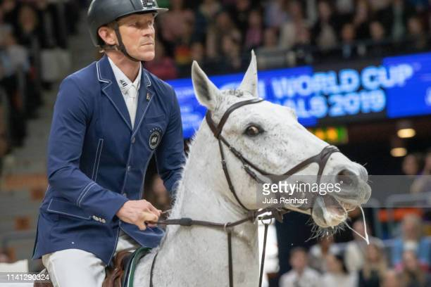 Swedish rider Peder Fredricson on Catch Me Not S placed third in the Longines FEI Jumping World Cup Final during the Gothenburg Horse Show 2019 at...