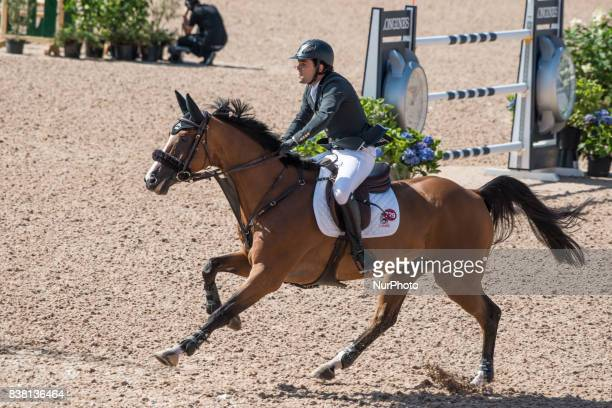 Swedish rider Peder Fredricson on HampM All In rides in the qualifying competition of the 2017 FEI European Championships at Ullevi Stadium in...