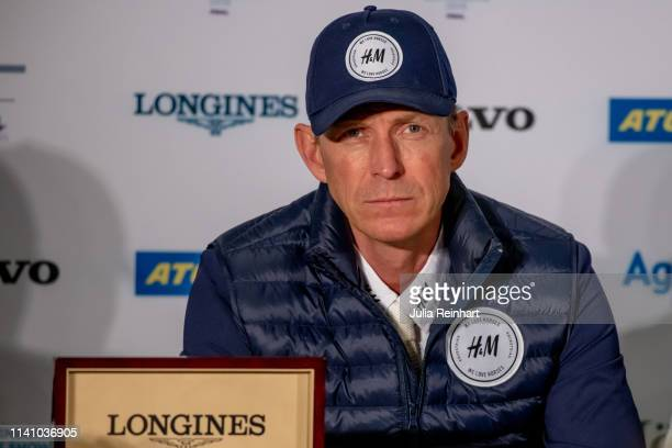 Swedish rider Peder Fredricson speaks to the press after placing third in the 2019 Longines FEI Jumping World Cup Final during the Gothenburg Horse...