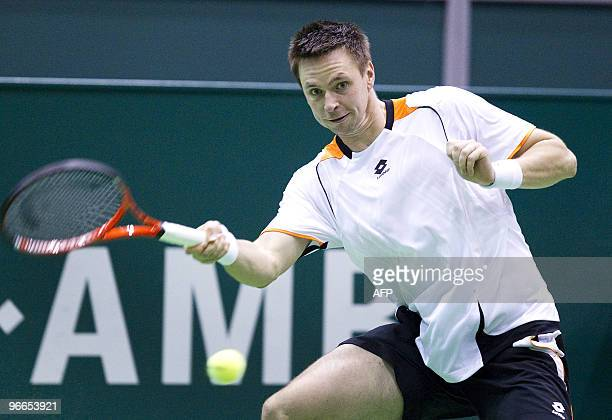 Swedish Robin Soderling plays against Russian Nikolay Davydenko during the semi finals of the ATP Tennis Tournament in Rotterdam at on February...