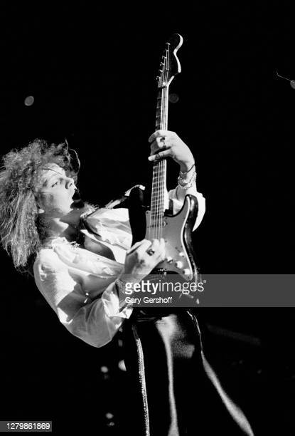 Swedish Rock and Heavy Metal musician Yngwie Malmsteen plays guitar as he performs onstage at Brendan Byrne Arena , East Rutherford, New Jersey,...