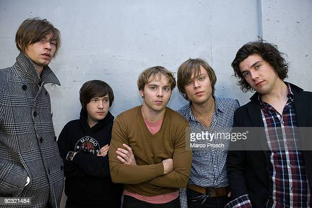 Swedish rock band Mando Diao poses backstage at the Arena Leipzig on October 24 2009 in Leipzig Germany