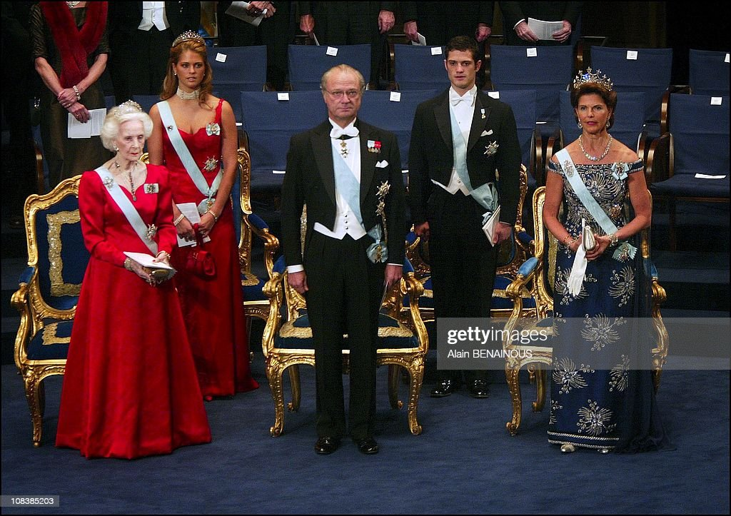King Carl Gustav, Queen Silvia, Princess Madeleine, Prince Karl Philip and Princess Lilian in Stockholm, Sweden on December 10, 2002.