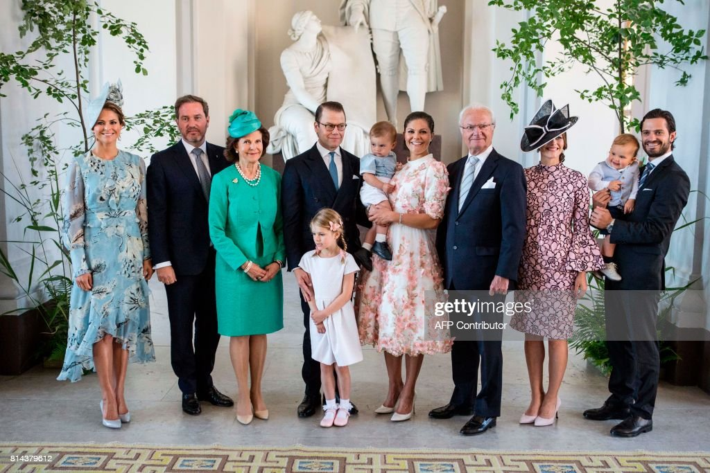Swedish Royal family (L-R) Princess Madeleine, Christopher O'Neill, Queen Silvia, Prince Daniel, Princess Estelle, Prince Oscar, Crown Princess Victoria, King Carl Gustaf, Princess Sofia, Prince Alexander, Prince Carl Philip poses for a picture at the Royal Palace during a reception of Crown Princess Victoria's 40th birthday, in Stockholm, on July 14, 2017. News Agency / Christine Olsson / Sweden OUT