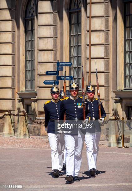 swedish royal guards outside the palace in stockholm - the stockholm palace stock pictures, royalty-free photos & images