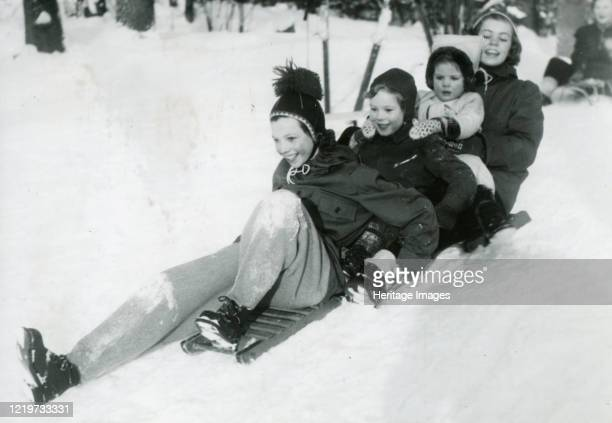 Swedish royal kids in the snow 13 Jan 1950 Artist Unknown