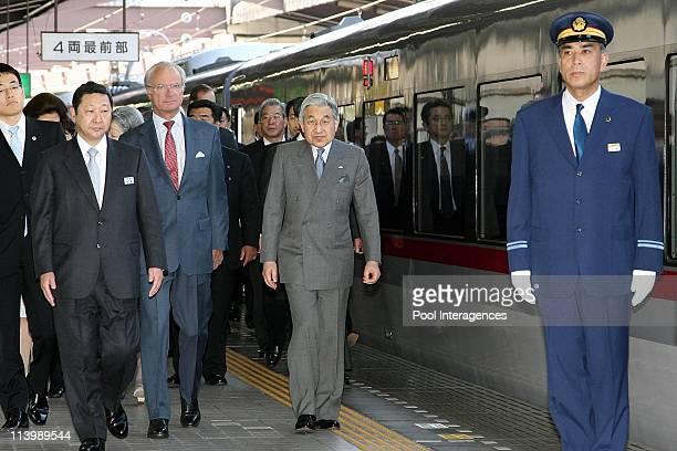 Swedish Royals Visit Japan Day Three in Tokyo Japan On March 28 2007Japanese Emperor Akihito and the Swedish King Carl XVI Gustaf walk at the...