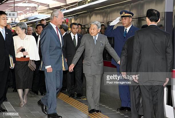 Swedish Royals Visit Japan Day Three in Tokyo Japan On March 28 2007Japanese Emperor Akihito escorts the Swedish King Carl XVI Gustaf onto the train...