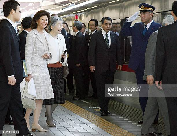 Swedish Royals Visit Japan Day Three in Tokyo Japan On March 28 2007Japanese Empress Michiko and Swedish Queen Silvia walk at the platform at Seibu...