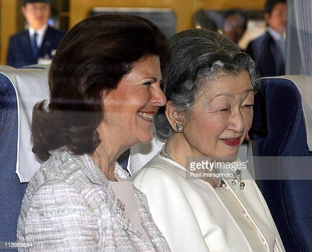Swedish Royals Visit Japan Day Three in Tokyo Japan On March 28 2007Japanese Empress Michiko and Swedish Queen Silvia smile on the train at Seibu...