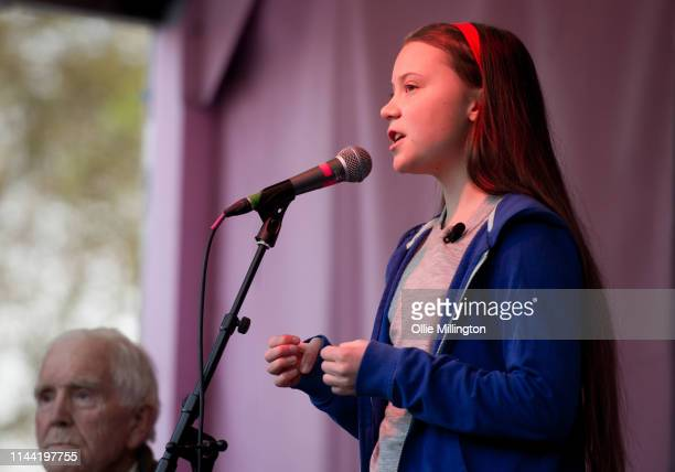 Swedish schoolgirl climate activist Greta Thunberg speaks to an Extinction Rebellion environmental activists rally at Marble Arch while the group...