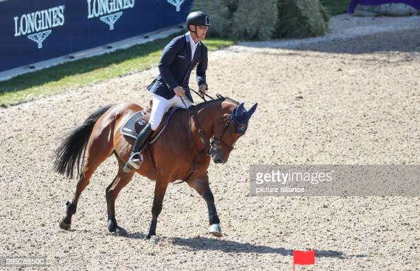Swedish show jumper Peder Fredericson on his horse HM All In at the Longines FEI European Championships 2017 in Gothenburg Sweden 23 August 2017...