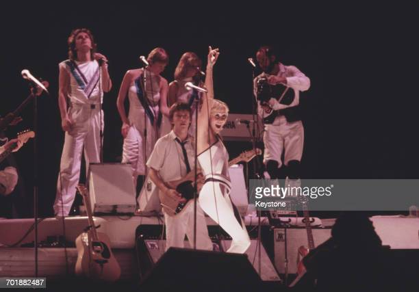 Swedish singer Agnetha Fältskog in concert with the pop group ABBA, 1979.