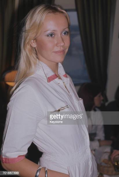 Swedish singer Agnetha Fältskog of the pop group ABBA, circa 1975.