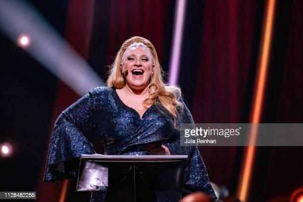 Swedish singer and actress Sarah Dawn Finer leads through the second heat of Melodifestivalen Sweden's competition to select the country's...