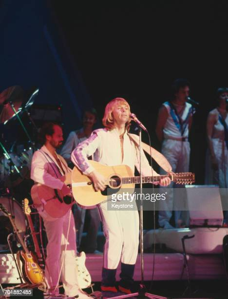 Swedish singer and musician Björn Ulvaeus in concert with the pop group ABBA 1979