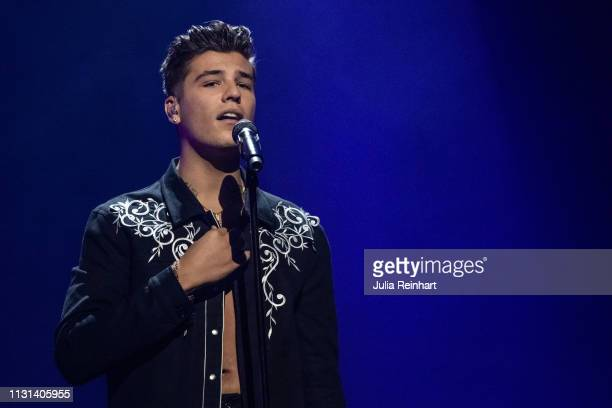 Swedish singer Anton Hagman participates in the fourth heat of Melodifestivalen Sweden's competition to select the country's representative at the...
