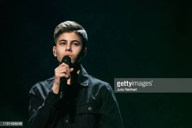 Swedish singer Bishara makes his live performance debut as he participates in the fourth heat of Melodifestivalen Sweden's competition to select the...