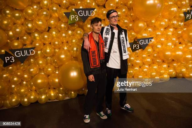 Swedish singer Daniel AdamsRay and a friend arrive at the P3 Guld Gala Swedish Radio's celebration of the best in Swedish Music on January 20 2018 at...