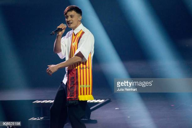 Swedish singer Daniel AdamsRay performs at the P3 Guld Gala Swedish Radio's celebration of the best in Swedish Music on January 20 2018 at Partille...