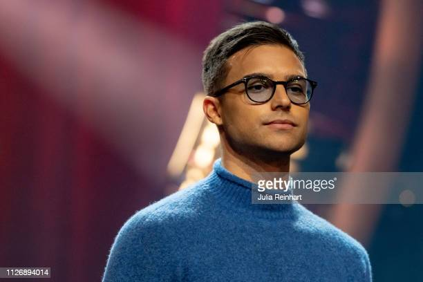 Swedish singer Eric Saade is presented to the press as one of four hosts ahead of the first heat of Melodifestivalen Sweden's competition to select...