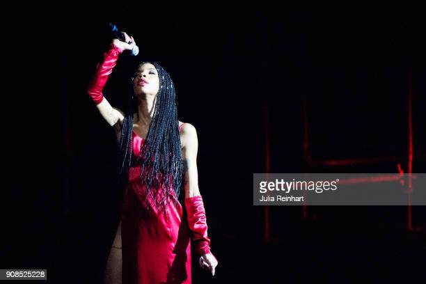 Swedish singer Janice performs at the P3 Guld Gala Swedish Radio's celebration of the best in Swedish Music on January 20 2018 at Partille Hallen in...