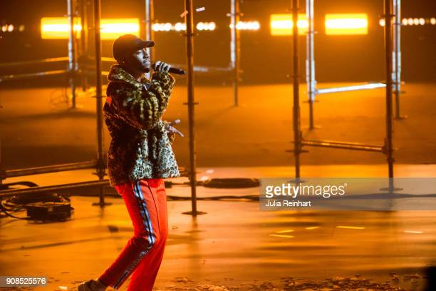 Swedish singer Jireel winner of the Artist of the Year award performs at the P3 Guld Gala Swedish Radio's celebration of the best in Swedish Music on...