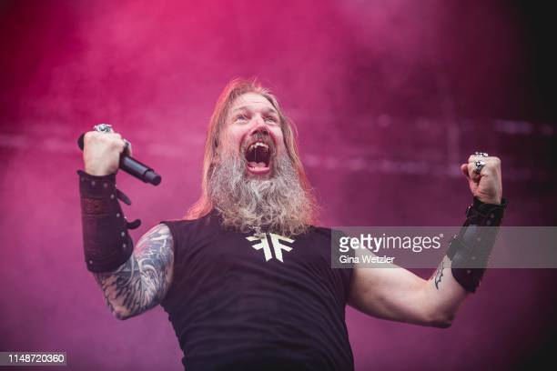Swedish singer Johan Hegg of Amon Amath performs live on stage during Rock am Ring at Nuerburgring on June 9, 2019 in Nuerburg, Germany.