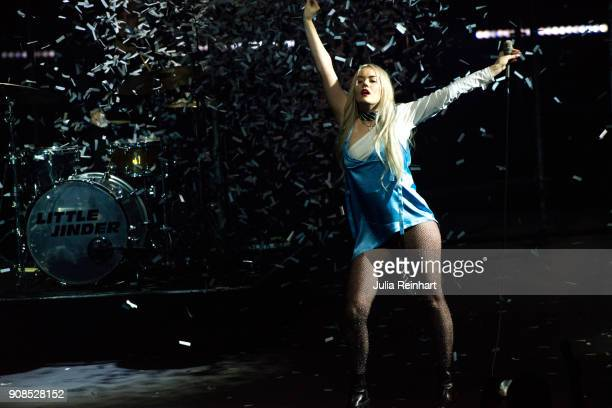 Swedish singer Little Jinder performs at the P3 Guld Gala Swedish Radio's celebration of the best in Swedish Music on January 20 2018 at Partille...