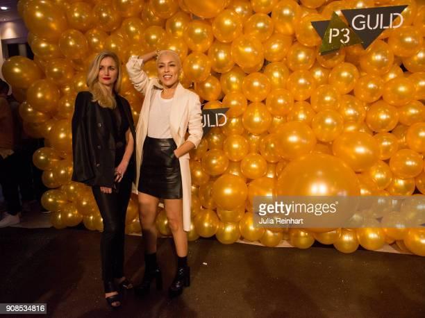 Swedish singer Loreen winner of the 2012 European Song Contest and Radio personality Johanna Nordstrom arrive at the P3 Guld Gala Swedish Radio's...