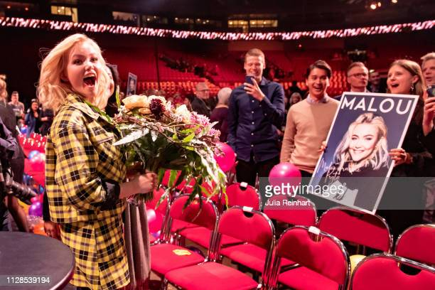 Swedish singer Malou Prytz meets her fans after advancing to the finals in the second heat of Melodifestivalen Sweden's competition to select the...