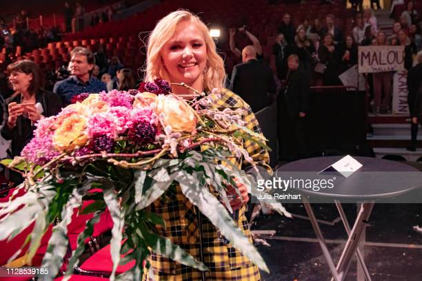 Swedish singer Malou Prytz meets the press after advancing to the finals in the second heat of Melodifestivalen Sweden's competition to select the...
