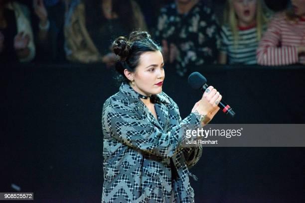 Swedish singer Miriam Bryant speaks at the P3 Guld Gala Swedish Radio's celebration of the best in Swedish Music on January 20 2018 at Partille...