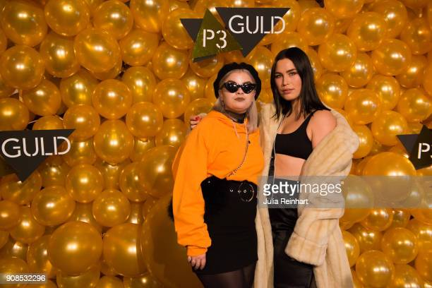 Swedish singer Molly Pettersson Hammar and Amanda Forsell arrive at the P3 Guld Gala Swedish Radio's celebration of the best in Swedish Music on...