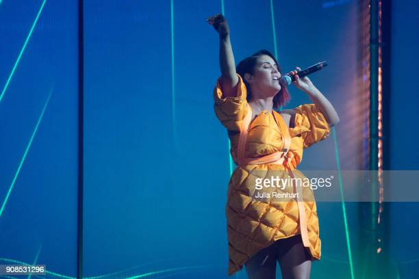 Swedish singer Molly Sandén performs at the P3 Guld Gala Swedish Radio's celebration of the best in Swedish Music on January 20 2018 at Partille...