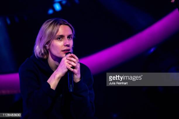 Swedish singer Oscar Enestad participates in the second heat of Melodifestivalen Sweden's competition to select the country's representative at the...