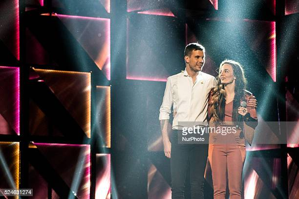 Swedish singer Robin Bengtsson 2008 Swedish Idol finalist and Country artist Mimi Werner during the final dress rehearsal for the Gothenburg...