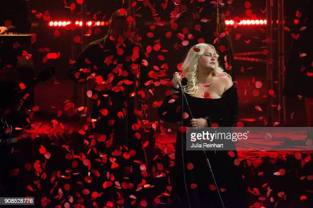 Swedish singer Sarah Klang performs at the P3 Guld Gala Swedish Radio's celebration of the best in Swedish Music on January 20 2018 at Partille...
