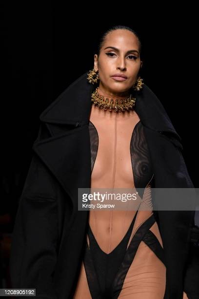 Swedish singer Snoh Aalegra walks the runway during the Mugler show as part of Paris Fashion Week Womenswear Fall/Winter 2020/2021 on February 26...