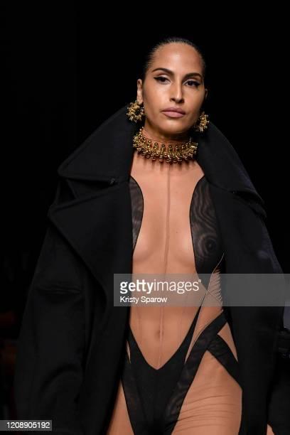 Swedish singer Snoh Aalegra walks the runway during the Mugler show as part of Paris Fashion Week Womenswear Fall/Winter 2020/2021 on February 26,...