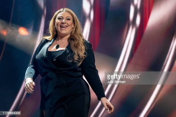 Swedish singer songwriter and actress Sarah Dawn Finder is presented to the press as one of four hosts ahead of the first heat of Melodifestivalen...
