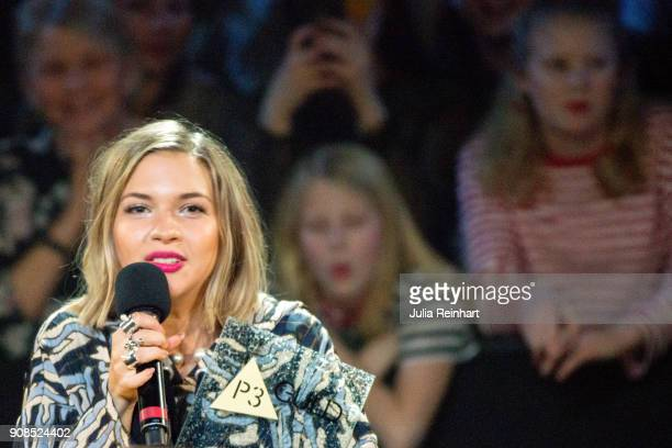 Swedish singer Tove Styrke winner of the Pop Artist of the Year award shows off her prize at the P3 Guld Gala Swedish Radio's celebration of the best...