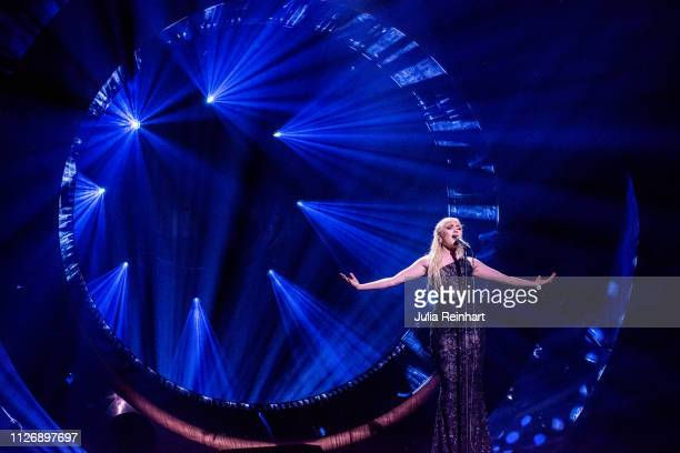 Swedish singer Wiktoria Johansson participates in the first heat of Melodifestivalen Sweden's competition to select the country's representative at...