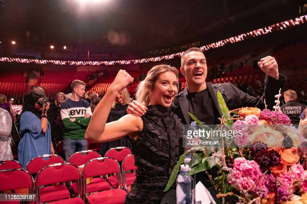 Swedish singers Liamoo and Hanna Ferm meet the press after advancing to the finals in the second heat of Melodifestivalen Sweden's competition to...