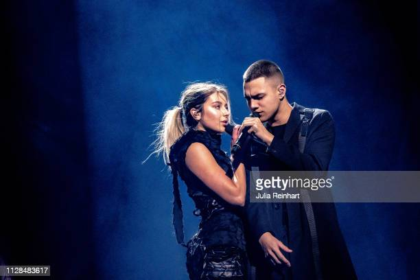 Swedish singers Liamoo and Hanna Ferm participate in the second heat of Melodifestivalen Sweden's competition to select the country's representative...