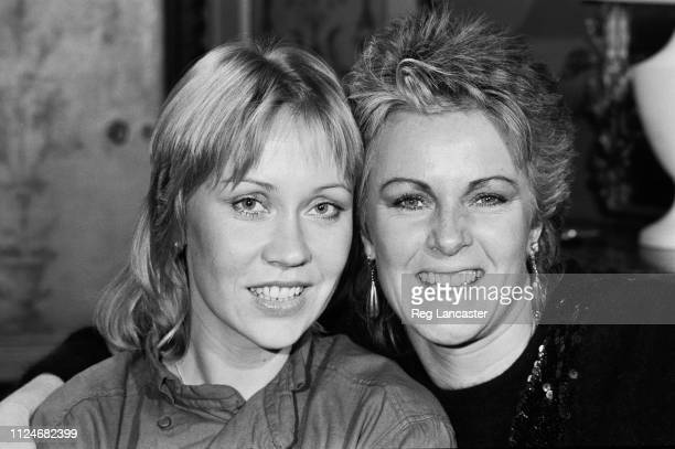 Swedish singer-songwriters and musicians Agnetha Fältskog and Anni-Frid Lyngstad of pop group Abba, UK, 31st August 1983.