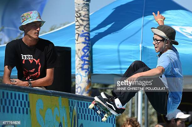 Swedish skater Kalle Berglind takes part in qualifying rounds of the French stage of the World Cup Skateboarding ISU during the Sosh Freestyle Cup...