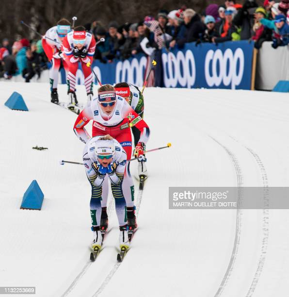 Swedish skier Frida Karlsson competes in the women's FIS World Cup Mass Start 10km March 23 2019 on the second day of the FIS CrossCountry World Cup...