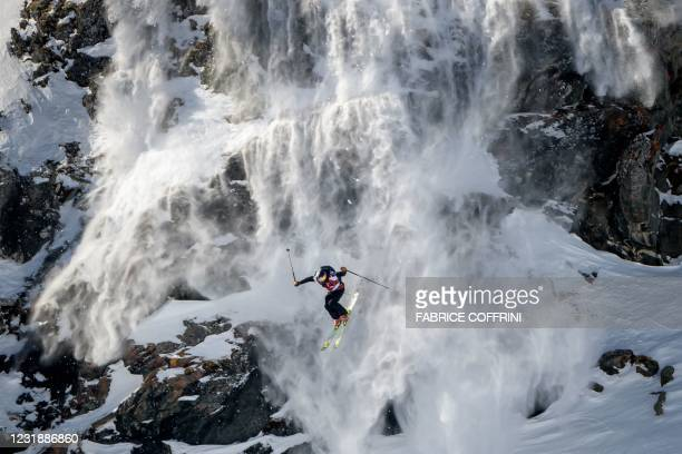 Swedish skier Kristofer Turdell competes to win the overall men's ski ranking during the Verbier Xtreme Freeride World Tour final on the Bec de...